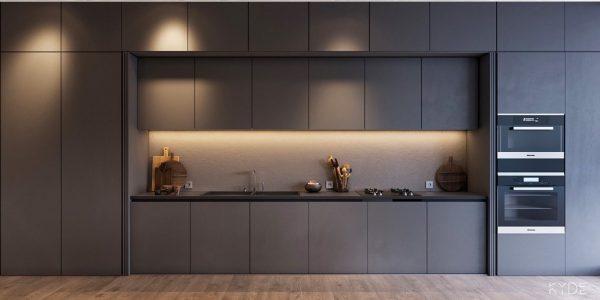3 600x300 - Tủ bếp âm tường kiểu chữ I TBI0027