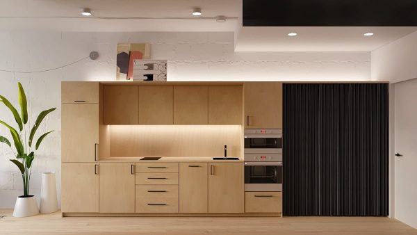 TBI0008 600x338 - Tủ bếp hiện đại kiểu chữ I TBI0008
