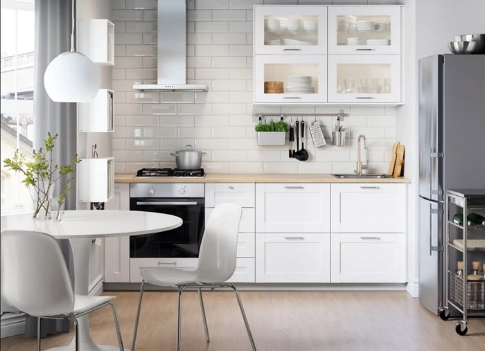 Tu Bep Go Dep Hinh Chu I 03 - Tủ bếp chữ I - lựa chọn hoàn hảo cho không gian nhà nhỏ