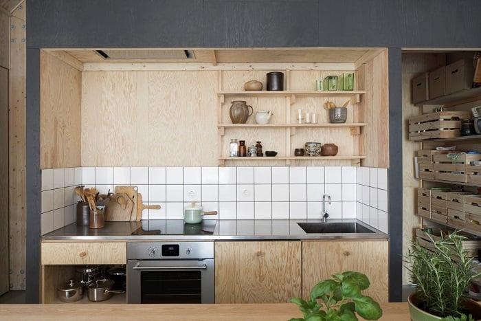 Tu Bep Go Dep Hinh Chu I 05 - Tủ bếp chữ I - lựa chọn hoàn hảo cho không gian nhà nhỏ