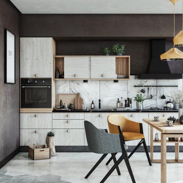 """one wall kitchen with large island table 600x600 - 3 loại chất gây ung thư """"núp"""" trong các dụng cụ nhà bếp"""