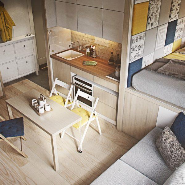Thiet ke tu bep can ho Studio Vinhome quan 9 2 600x600 - Tủ bếp chữ I - thiết kế hoàn hảo cho không gian bếp nhỏ