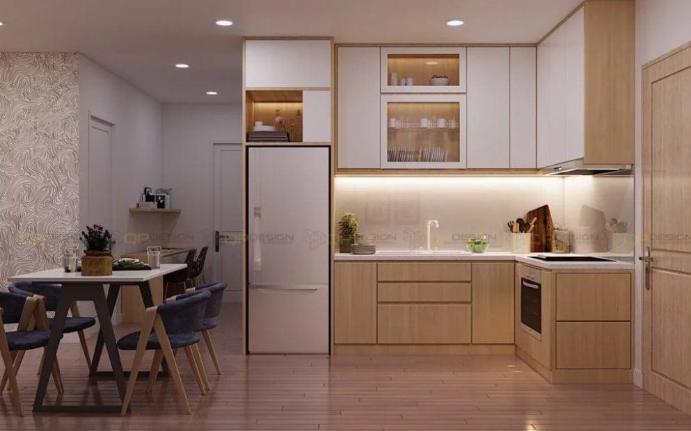 mau tu bep chung cu 4 - 20+ mẫu bếp chung cư đẹp nhất 2020